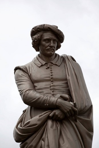 Stock Photo: 1848-556812 Statue of the painter Rembrandt, Rembrandtsplein, Amsterdam, Holland, Netherlands, Europe