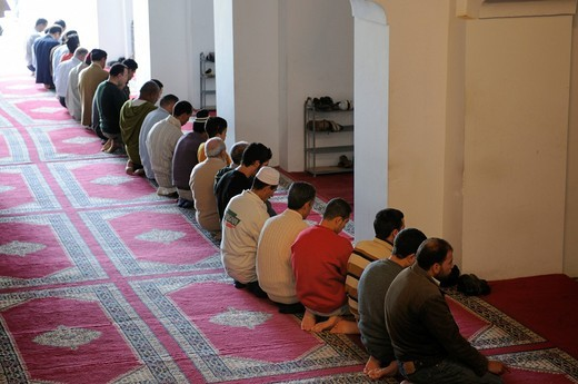 Devout Muslims praying in the mosque, Fes, Morocco, Africa : Stock Photo