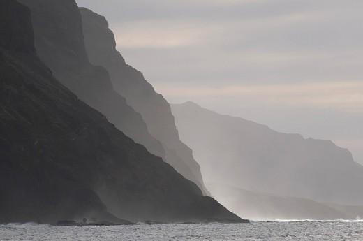 Rocky coast in twilight, San Antao, Cabo Verde, Cape Verde, Africa : Stock Photo