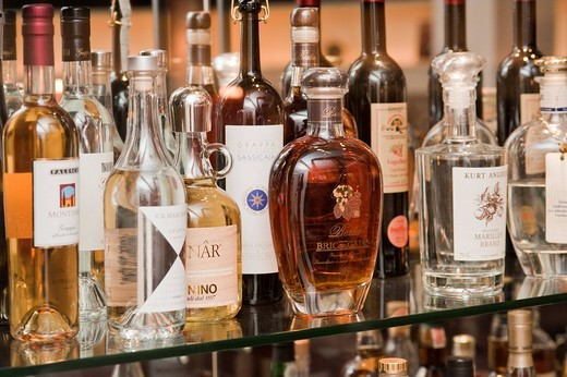 Stock Photo: 1848-557175 Bar with bottles of alcohol