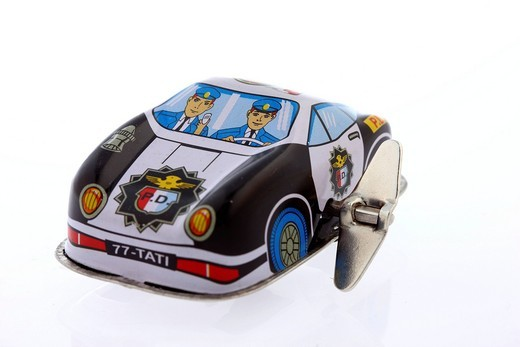 Police car, tin toy car, wind_up toy : Stock Photo