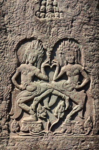Relief of Apsara dancers, Bayon Temple, Angkor temples, Siem Reap, Cambodia, Indochina, Southeast Asia : Stock Photo