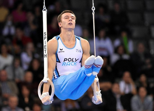 Stock Photo: 1848-557644 Maxim Devyatovsky, RUS, on the rings, EnBW Gymnastics World Cup 2010, 28th DTB_Cup, Stuttgart, Baden_Wuerttemberg, Germany, Europe