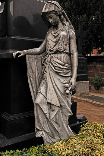 Stock Photo: 1848-557757 Grieving female figure beside a grave dating from the 19th Century at St. John´s Cemetery, founded in the 13th Century, Johannisstrasse 55, Nuremberg, Middle Franconia, Bavaria, Germany, Europe