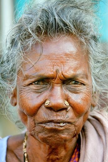 Stock Photo: 1848-557760 Tamil woman, portrait, Bharathi Road, Pondicherry, Puducherry, French Quarter, Tamil Nadu, India, Asia