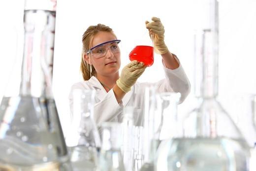 Stock Photo: 1848-557786 Chemistry laboratory, lab technician at work