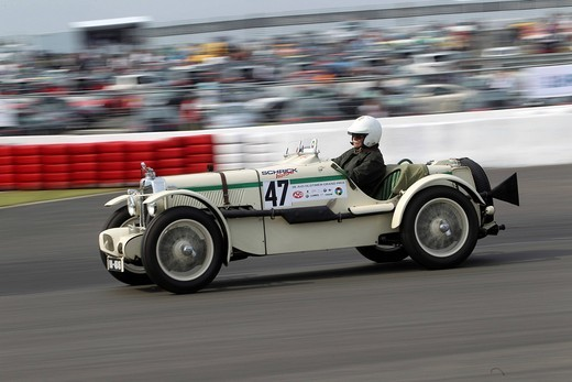 Race of the pre_war cars, Henry Koster in the MG from 1936, Oldtimer_Grand_Prix 2010 for vintage cars at the Nurburgring race track, Rhineland_Palatinate, Germany, Europe : Stock Photo