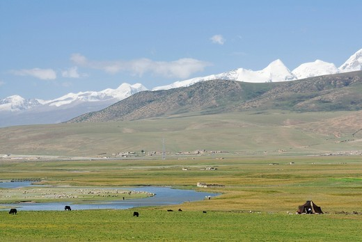 Snow_covered peaks of the Nyenchen Tanglha mountain range, Nyainqentanglha mountain range, Tibet region, China, Asia : Stock Photo