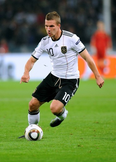 Stock Photo: 1848-558375 Lukas Podolski, qualifier for the UEFA European Football Championship 2012, Germany _ Azerbaijan 6:1, RheinEnergieStadion stadium, Cologne, North Rhine_Westphalia, Germany, Europe