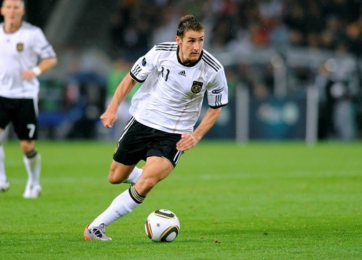 Miroslav Klose, qualifier for the UEFA European Football Championship 2012, Germany _ Azerbaijan 6:1, RheinEnergieStadion stadium, Cologne, North Rhine_Westphalia, Germany, Europe : Stock Photo