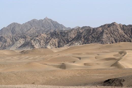 Stock Photo: 1848-558515 Sand dunes in the Gobi Desert, Silk Road, Dunhuang, Gansu, China, Asia