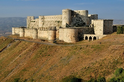 Crusader fortress Crac, Krak des Chevaliers, Qalaat al Husn, Hisn, Unesco World Heritage Site, Syria, Middle East, West Asia : Stock Photo
