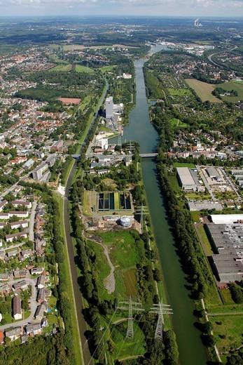 Aerial view, Herne Stadthafen city port, Ruhr area, North Rhine_Westphalia, Germany, Europe : Stock Photo