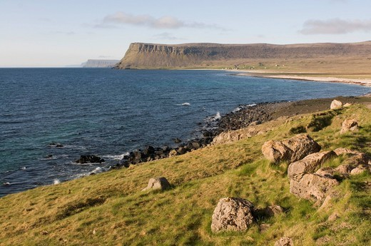 The dry landscape at the coast of the Westfjords, Breidavik, Iceland, Europe : Stock Photo