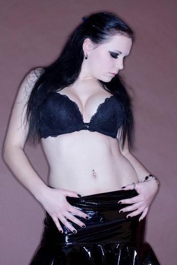 Stock Photo: 1848-558976 Woman, dark_haired, Gothic, bra