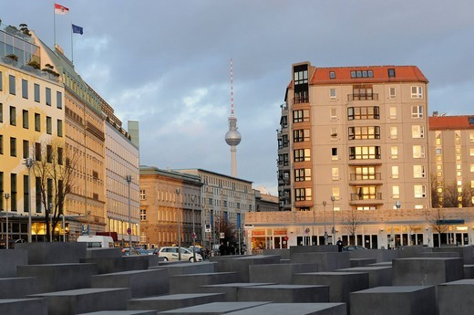Stock Photo: 1848-559598 Memorial to the Murdered Jews of Europe, Holocaust memorial, Fernsehturm television tower at the back, Berlin, Germany, Europe