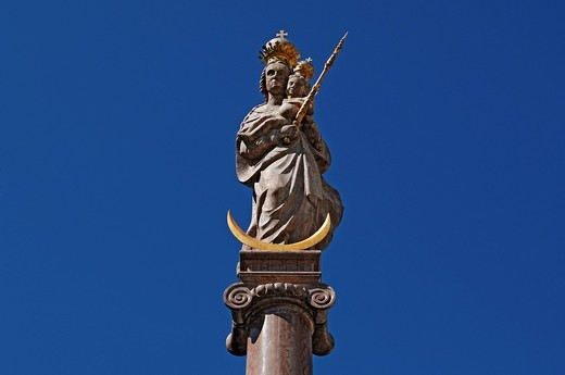 Stock Photo: 1848-559778 Figure on a Marian column from 1698, Marienplatz square, Weilheim, Upper Bavaria, Germany, Europe