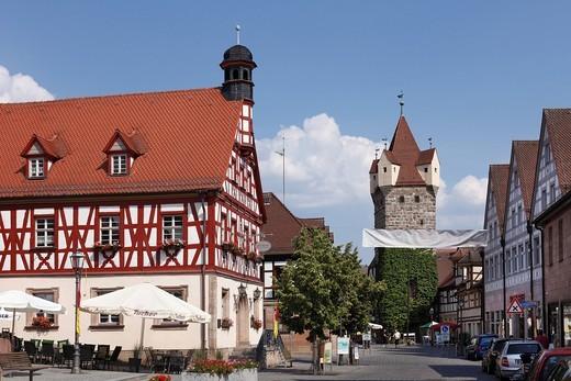 Stock Photo: 1848-559836 Old Town Hall, Fehnturm Tower, Herzogenaurach, Middle Franconia, Franconia, Bavaria, Germany, Europe