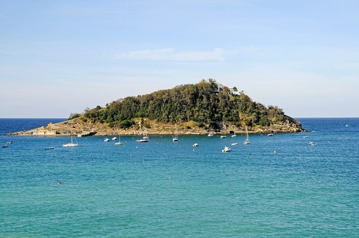 Stock Photo: 1848-560011 Isla Santa Clara, Santa Clara Island, La Concha Bay, San Sebastian, Pais Vasco, Basque Country, Spain, Europe