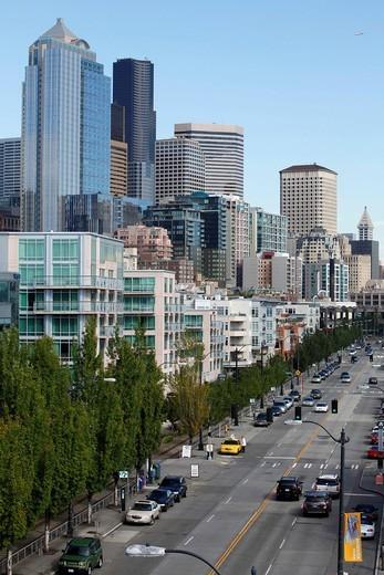 Stock Photo: 1848-560080 Cityscape on Alaskan Way, Seattle, Washington, USA