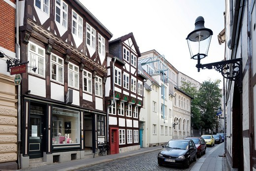 Half_timbered houses, Magniviertel quarter, old town, Braunschweig, Lower Saxony, Germany, Europe : Stock Photo