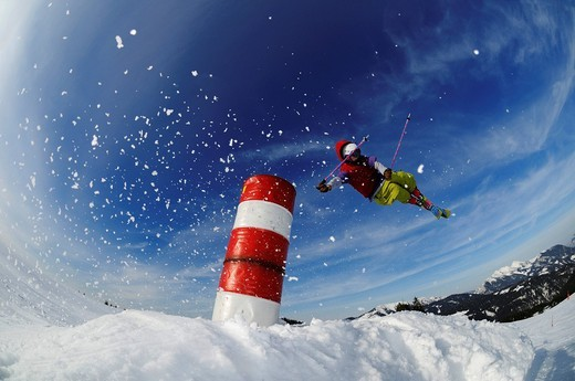 Stock Photo: 1848-560400 Skier, fun park, ski resort of Reit im Winkl, Chiemgau, Upper Bavaria, Germany, Europe