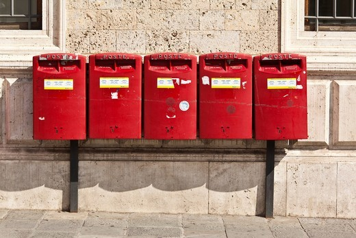 Stock Photo: 1848-560481 Red letter boxes, Tuscany, Italy, Europe