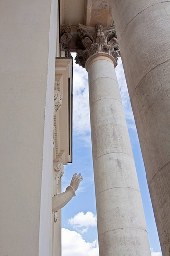 Statue with a raised hand, German Cathedral, Gendarmenmarkt, Mitte district, Berlin, Germany, Europe : Stock Photo