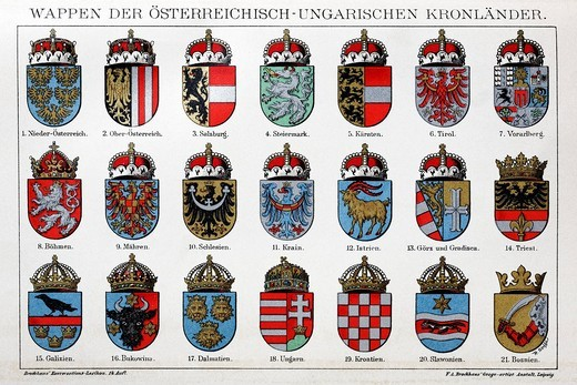 Historical coat of arms of the Austria_Hungarian Crown Lands from the time of the monarchy, Chromotafel, colour lithograph, Brockhaus Konversationslexikon, an encyclopaedia from 1908 : Stock Photo
