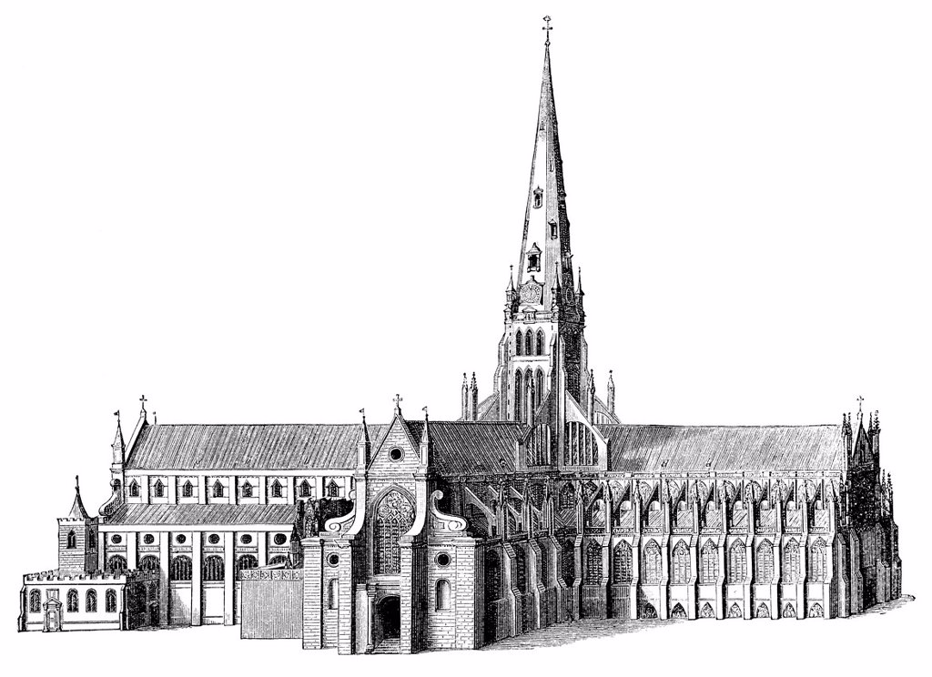 Stock Photo: 1848-561220 Historical illustration from the 19th Century, depiction of the 17th Century predecessor of St Paul´s Cathedral, a cathedral in London, England, United Kingdom