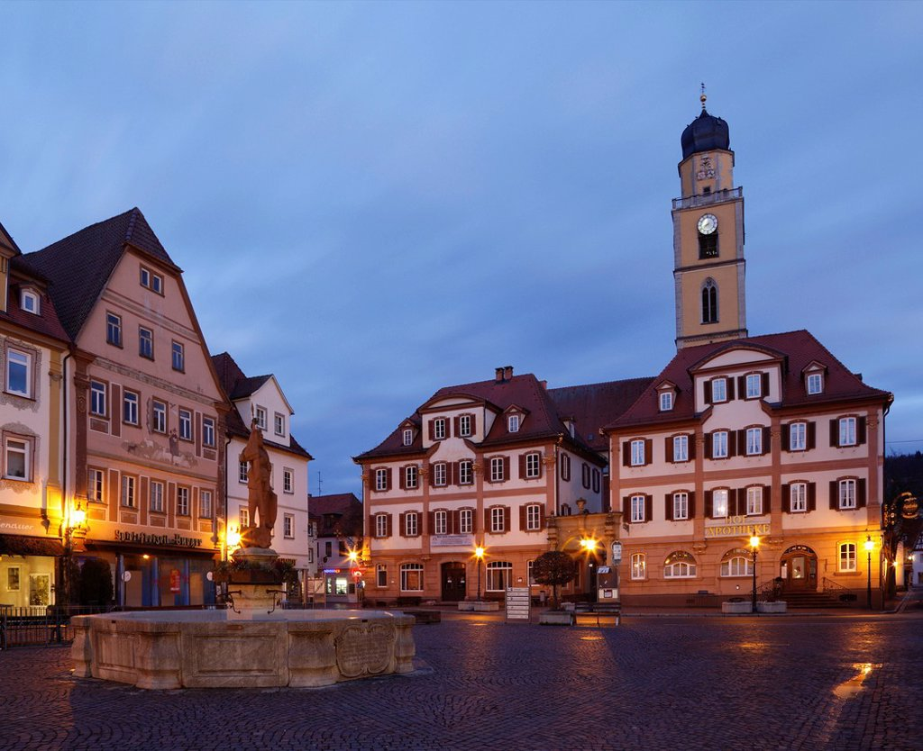 Marktplatz square with twin houses and the tower of the Cathedral of St. John Baptist, Bad Mergentheim, Tauber, Hohenlohe, Baden_Wuerttemberg, Germany, Europe : Stock Photo