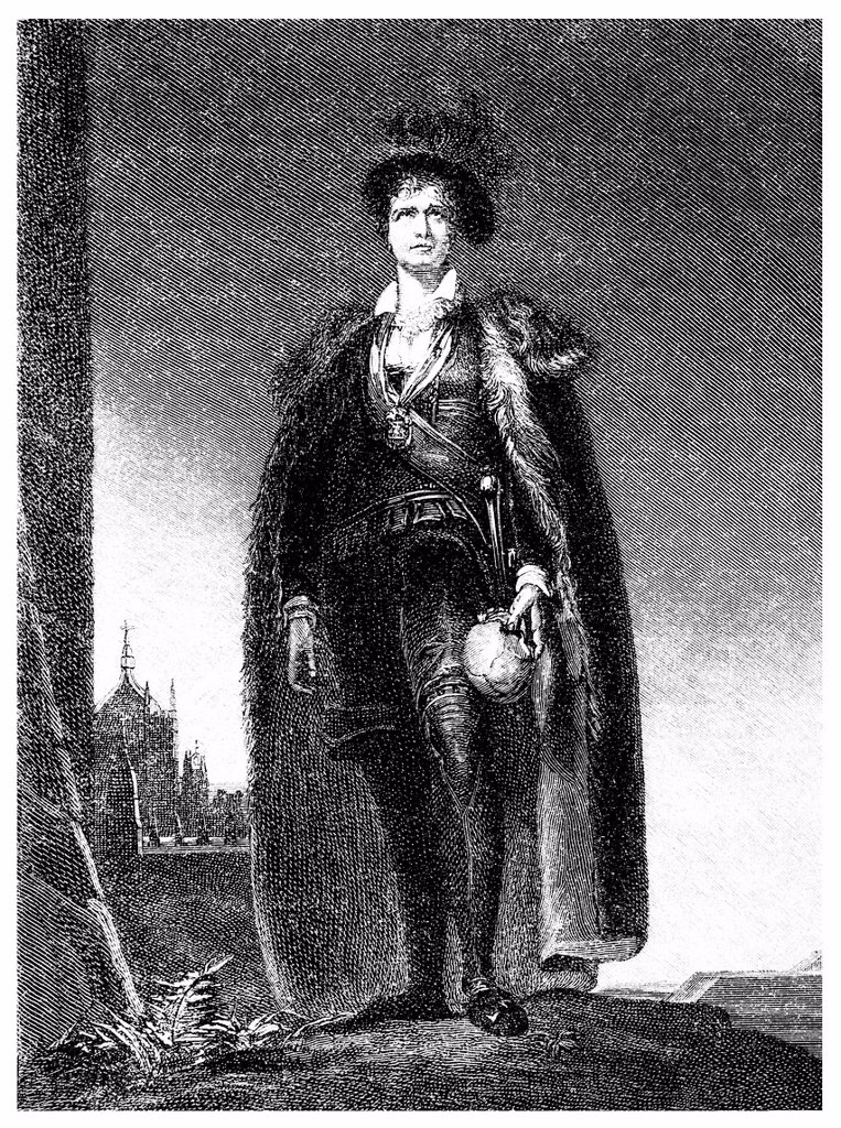 Historical illustration from the 19th Century, portrait of Charles Kemble, 1775 _ 1854, a British actor, here as Hamlet : Stock Photo
