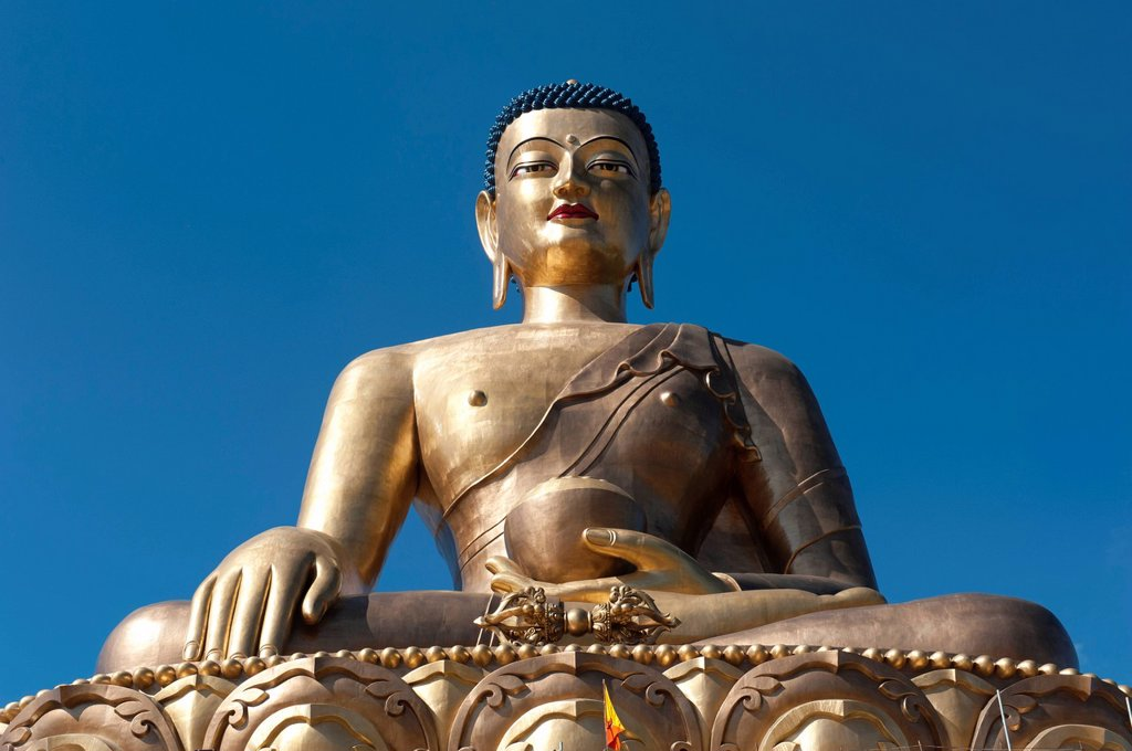 Stock Photo: 1848-561997 Tibetan Buddhism, the Big Buddha Statue, big Buddha bronze statue, Thimphu, the Himalayas, Kingdom of Bhutan, South Asia, Asia