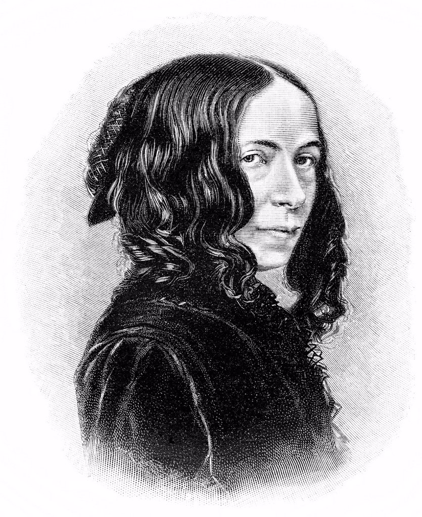 Stock Photo: 1848-562215 Historical illustration from the 19th Century, portrait of Elizabeth Barrett Browning, an English poet, 1806 _ 1861