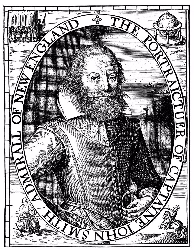Historical illustration from the 19th Century, portrait of Captain John Smith, 1579 _ 1631, English colonist in America : Stock Photo