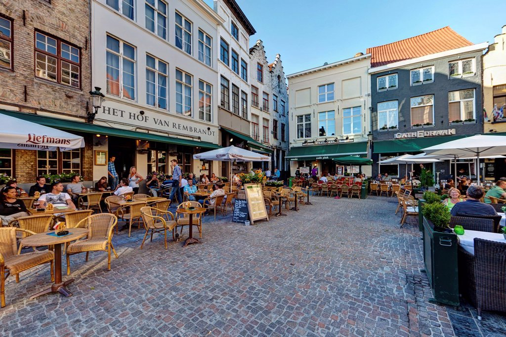 Stock Photo: 1848-562363 Street cafes on Grote Markt market square, historic town centre of Bruges, UNESCO World Heritage Site, West Flanders, Flemish Region, Belgium, Europe