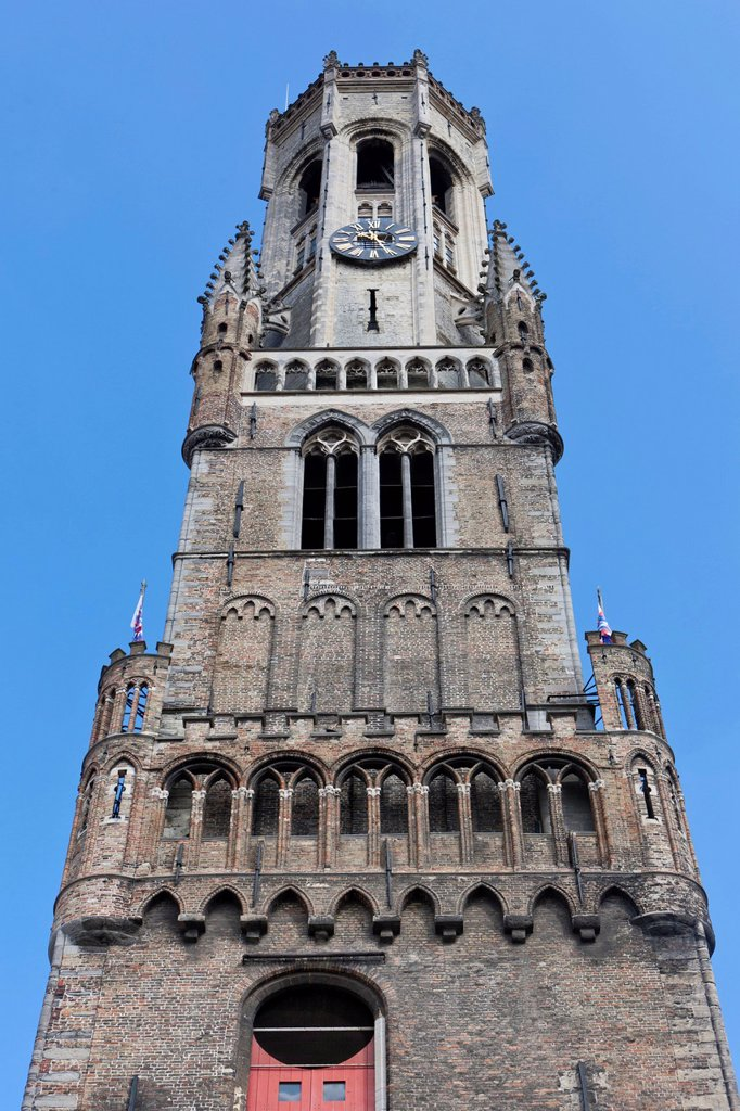 Belfry or bell tower of Belfort, Grote Markt market square, historic city centre of Bruges, UNESCO World Heritage Site, West Flanders, Flemish Region, Belgium, Europe : Stock Photo