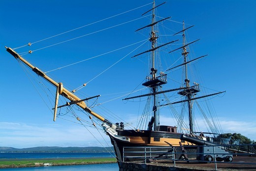 Stock Photo: 1848-56242 Replica of the Brig Amity sailing ship from the time of colonialization, Albany, Western Australia, Australia