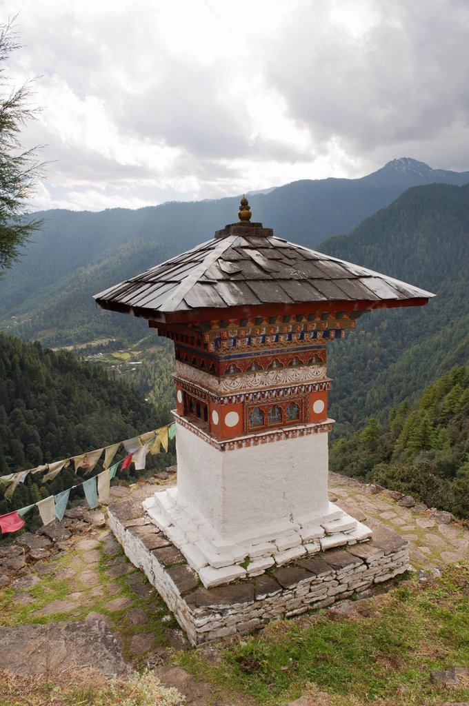 Stock Photo: 1848-562469 Tibetan Buddhism, chorten, view of wooded mountains, Tango Goemba Monastery near Thimphu, the Himalayas, Kingdom of Bhutan, South Asia, Asia