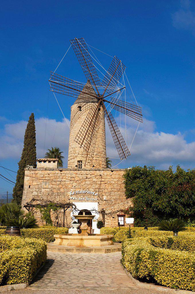 Restaurant in a windmill in Santa Maria del Cami, Majorca, Balearic Islands, Spain, Europe : Stock Photo