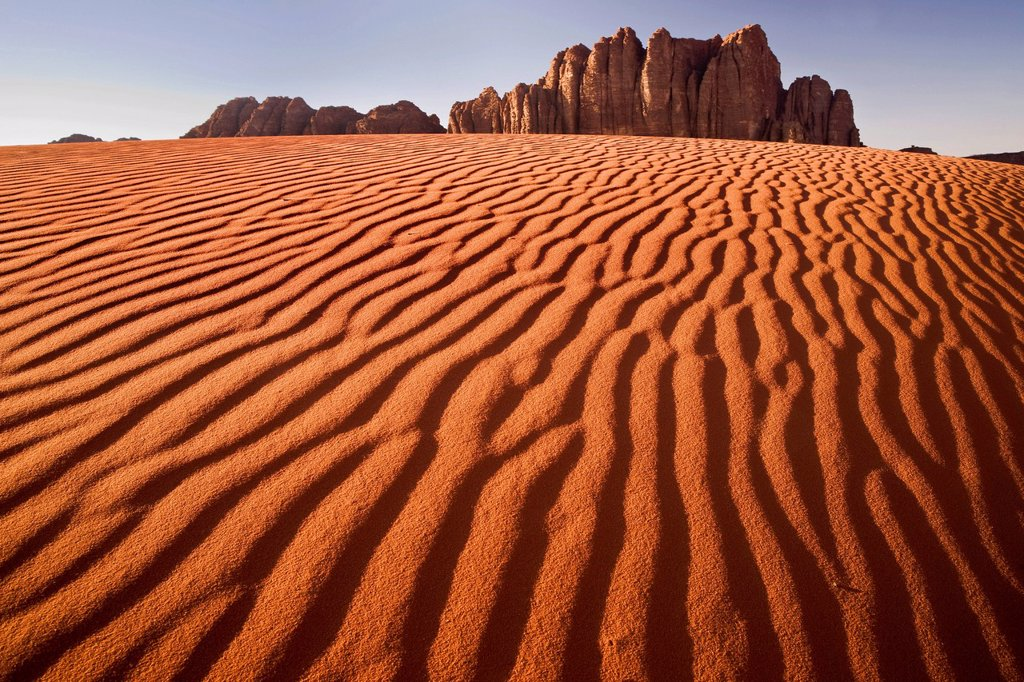Stock Photo: 1848-562627 Red sand dunes, rocks, Wadi Rum Desert, Jordan, Middle East, Asia