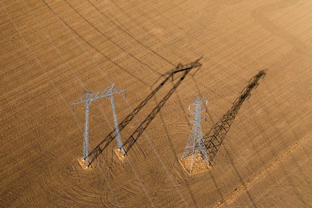 Stock Photo: 1848-562872 Aerial view, high voltage transmission pylons in the agricultural landscape of Central Valley, Coalinga, California, USA, North America