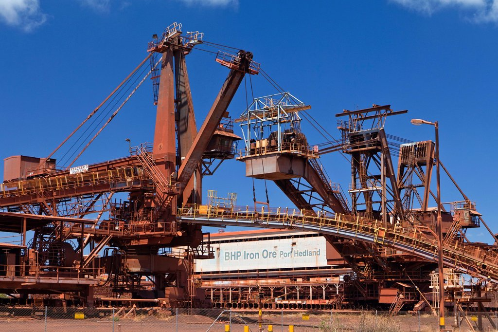 Stock Photo: 1848-562888 Old site of BHP Iron Ore, now known as BHP Billion, a British_Australian mining group, Port Hedland, Western Australia, Australia