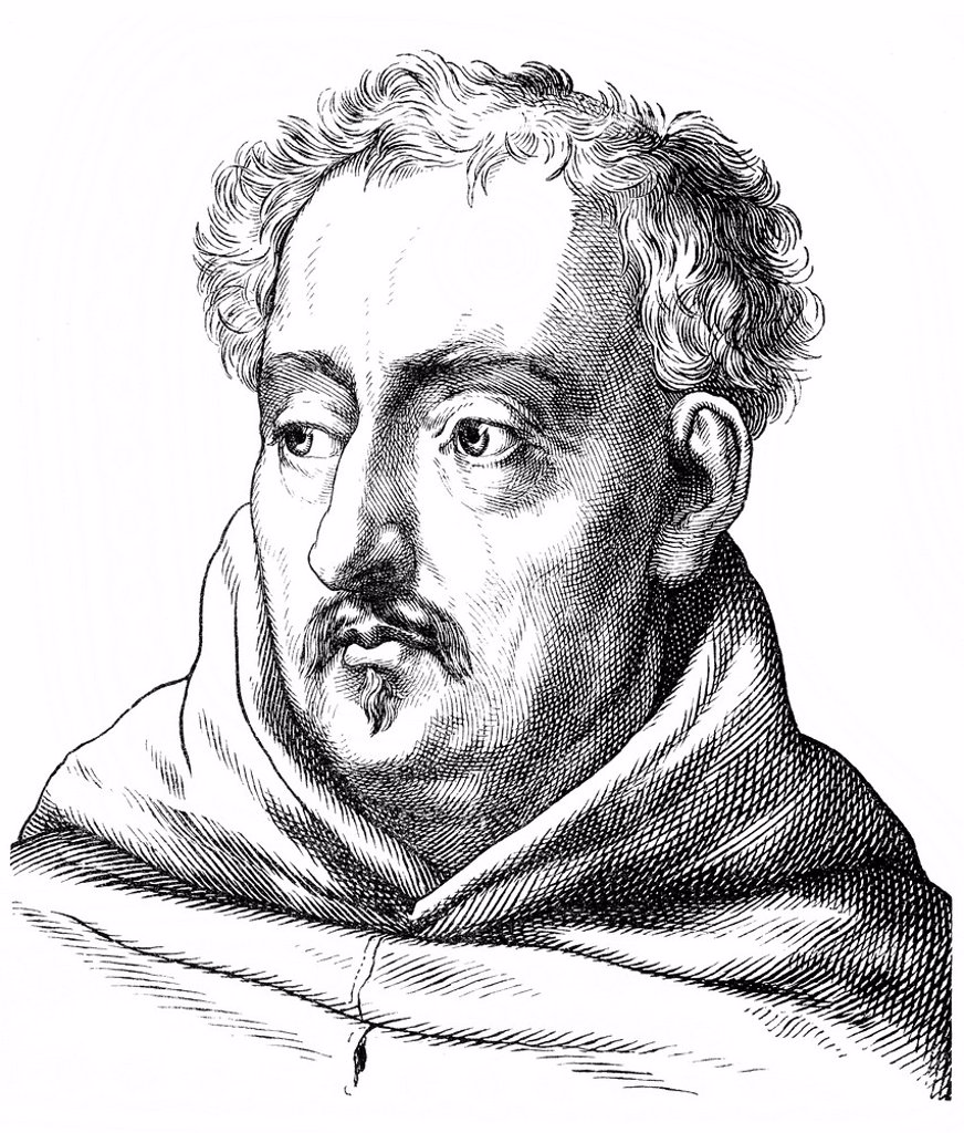 Historical drawing from the 19th century, portrait of Abraham a Sancta or Santa Clara or Johann Ulrich Megerle or Megerlin, 1644 _ 1709, a German Catholic preacher, writer and poet of the Baroque period : Stock Photo