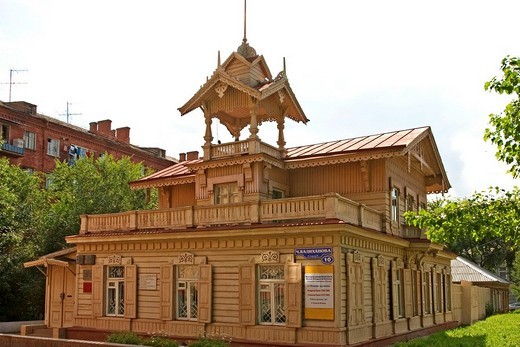 Old Sibirian Townhouse made from wooden trunks, Native Country Museum, Omsk, Sibiria, Russia, GUS, Europe, : Stock Photo