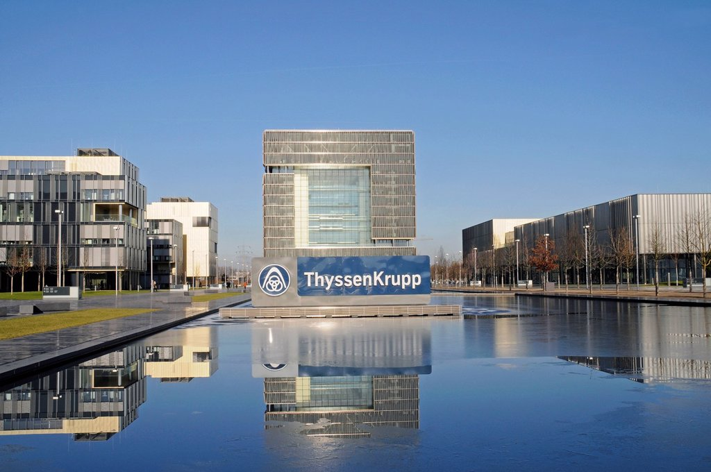 Stock Photo: 1848-563159 ThyssenKrupp, headquarters, Krupp town, steel industry, Essen, Ruhr Area, North Rhine_Westphalia, Germany, Europe, PublicGround