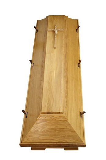 Stock Photo: 1848-56327 Crucifix on a wooden coffin