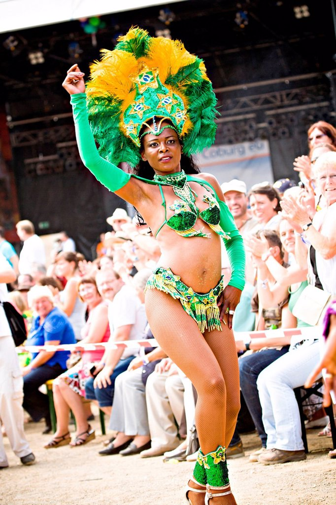 Stock Photo: 1848-563566 Female samba dancer, Samba Festival, Coburg, Bayern, Germany, Europe