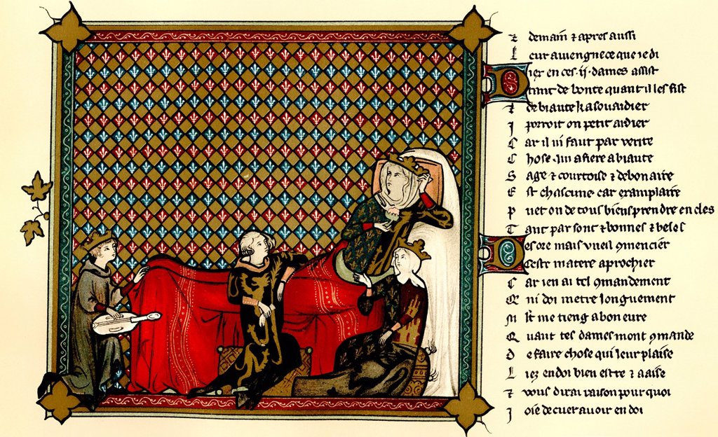 Stock Photo: 1848-563930 Historical print from the 19th century, from a manuscript dating from the 13th century, Adenet le Roi, the Queen of France, Mahaut de Artois and Blanche of Castile