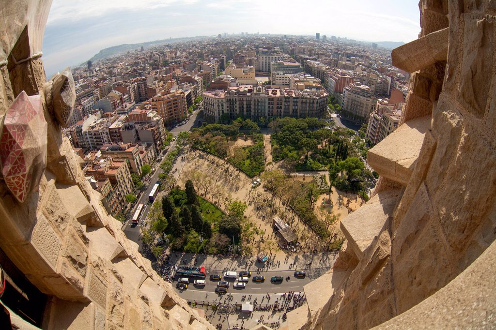 Stock Photo: 1848-564008 Aerial view, view of Barcelona from the towers of the Sagrada Familia church in Barcelona, Catalonia, Spain, Europe